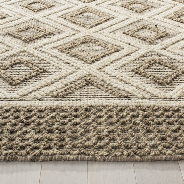 Hand Tufted Wool Cotton Beige Area Rug