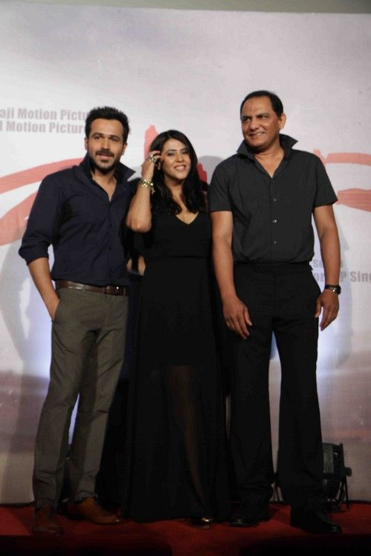 Emraan With Mohammad Azharuddin At Film Azhar Set2 http://www.myfirstshow.com/gallery/events/view/15294/.html