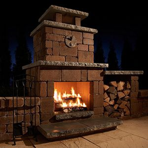 Compact Stone Outdoor Fireplace Kit