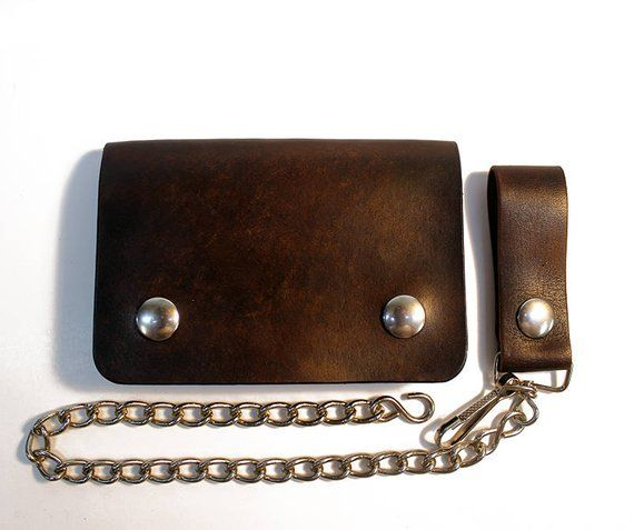 Distressed Brown Leather Chain Wallet USA Made For Bikers Tri-Fold
