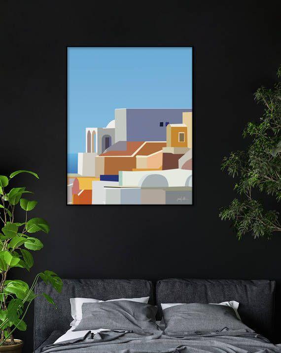 "Santorini Greece printable wall art Greek Islands print USE THE CODE ""HUNKYDORY"" TO RECEIVE 30% OFF!"