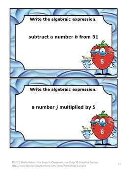 Task Cards and More Algebraic Number Expressions --  This 47 page packet focuses on Common core Skills 5.0A and 6.EE for Operations and Algebraic Thinking: Write and Interpret Numerical Expressions.