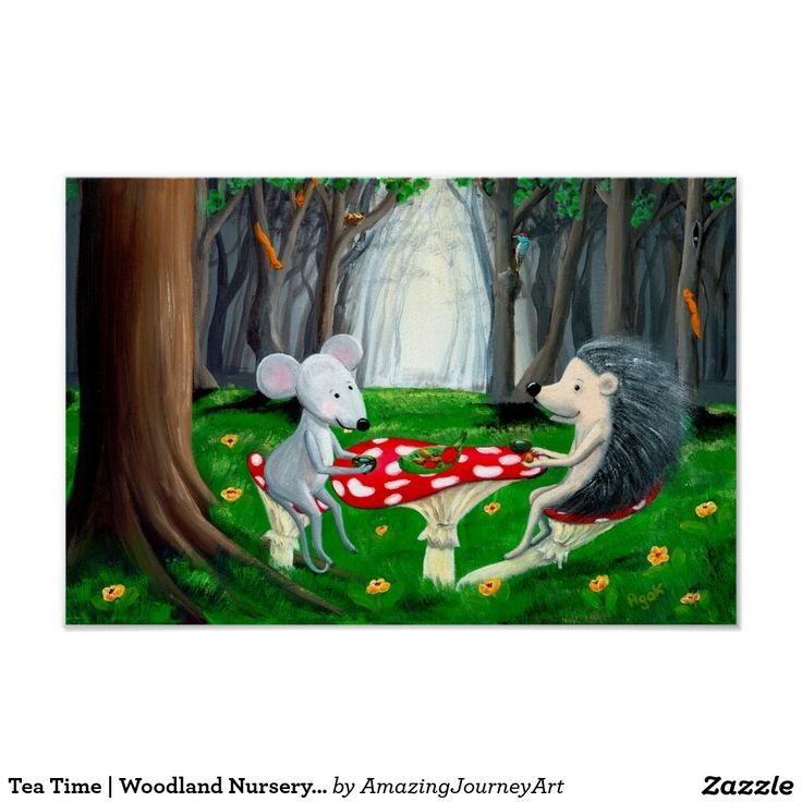 Tea Time | Woodland Nursery | Mouse & Hedgehog Poster