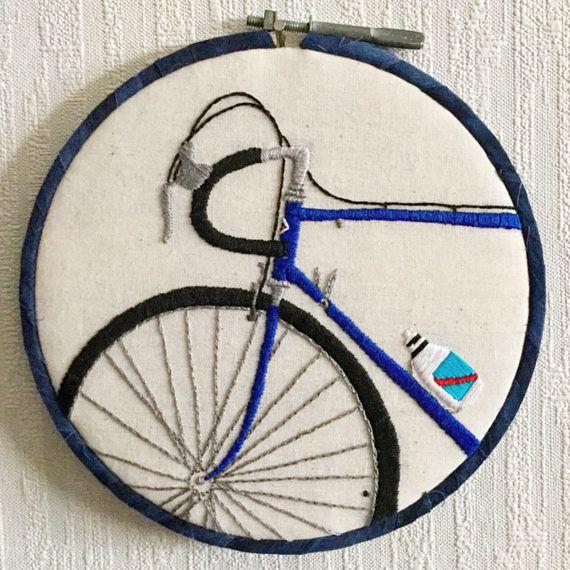 Quiero montar mi bicicleta de mano bordado aro arte