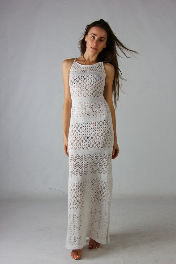 Look at this tremendous crochet maxi dress,  beachwear lacy viscose sundress! This maxi crochet dress is of my own design and on-of-a-kind! This adorable crochet white dres...