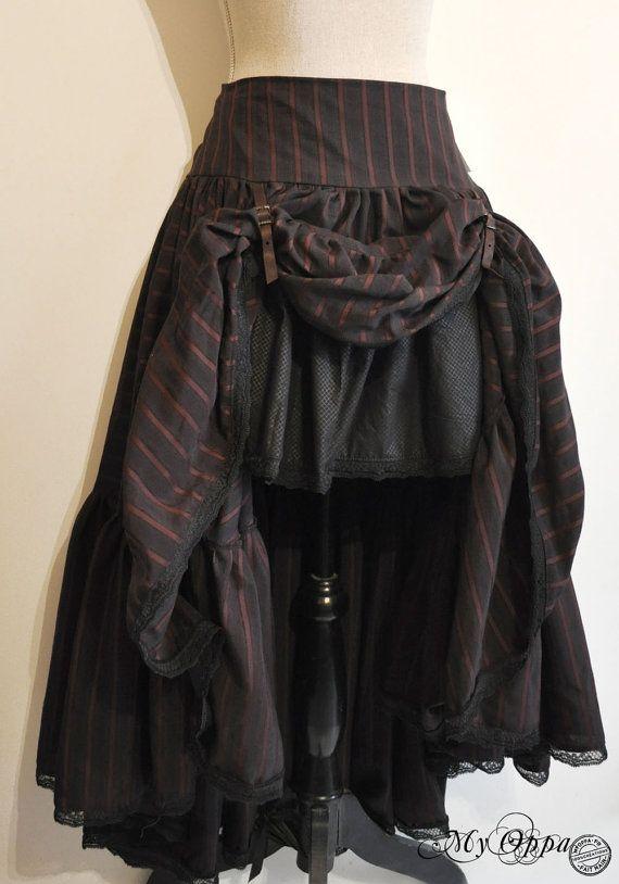 Long Skirt Steampunk  black borwn stripe (+ underskirt black)