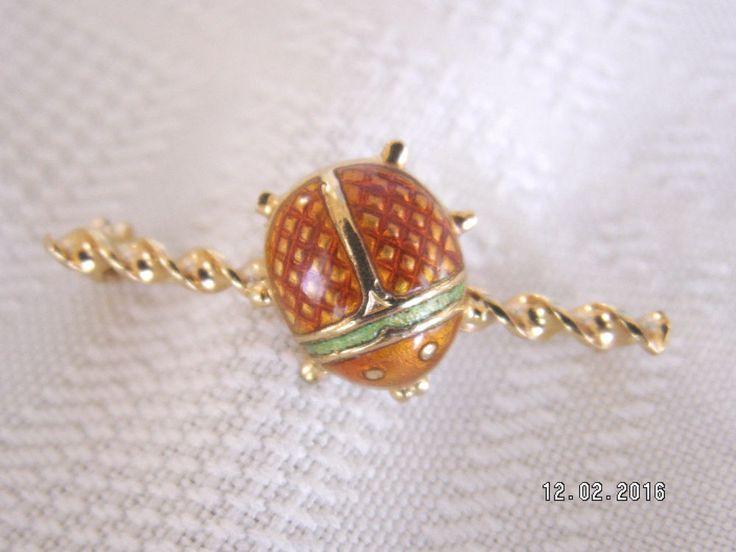 18K Yellow Gold Enamel Ladybug Pin - 3.0 Grams