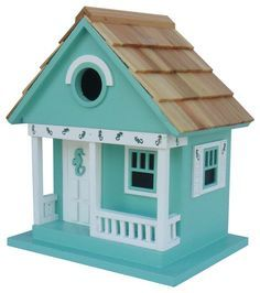 Sea Horse Cottage Birdhouse, Aqua beach-style-birdhouses