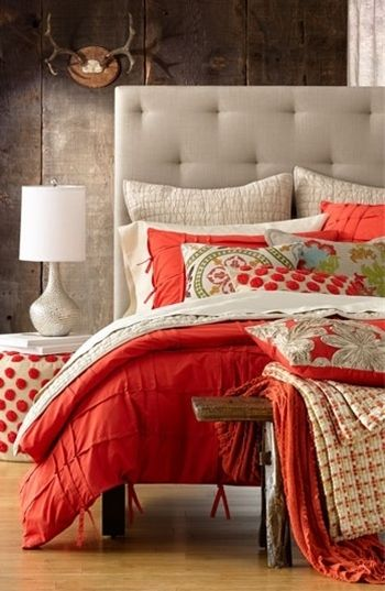 Poppy & grey bedroom, love the feel of this room