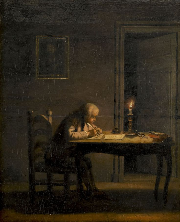 Pehr Hilleström (1733-1816), En gosse skriver vid ljus (A boy writing by candlelight).
