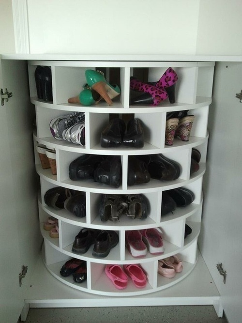 Shoe lazy susan- this would be helpful