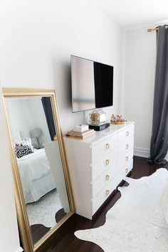 Gold Full Length Mirror U0026 Minimal Black U0026 White Bedroom Styling