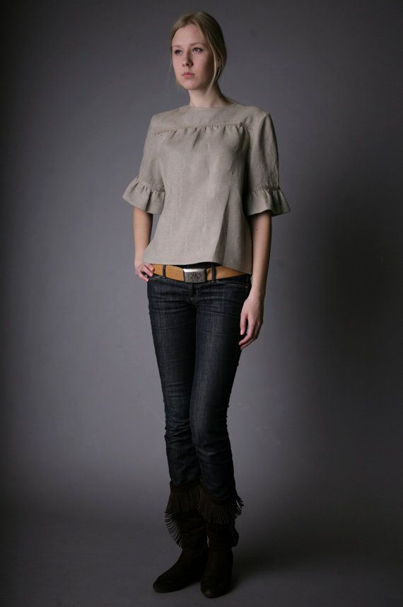 Pure Linen Natural Blouse for Woman by LGlinen on Etsy, $39.00