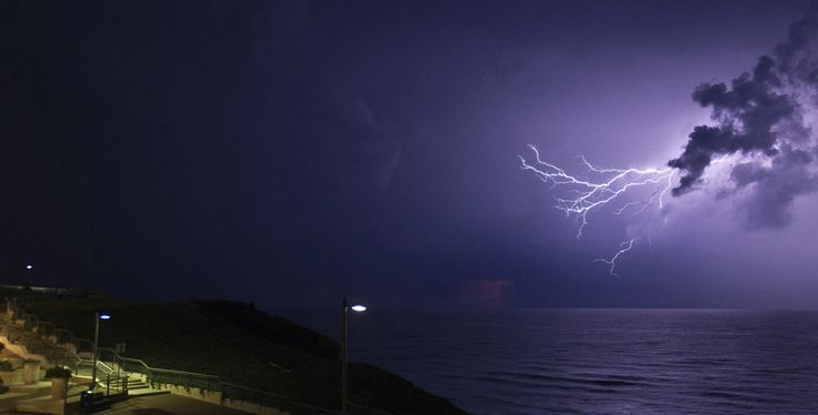 Lightning struck the sky above the Israeli coastal city of Netanya, north of Tel Aviv. (Jack Guez/AFP/Getty Images )