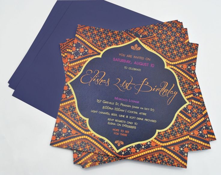 Moroccan themed invitations on The Loop
