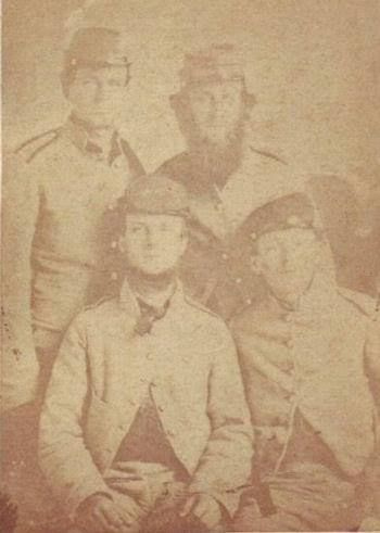 """Company G """"Autauga Rifles"""", 6th Alabama Infantry.  Lf: Pvt. John A. Whetstone and Pvt. Lewis Myers Whetstone Jr.  Back row: Pvt. J.D. Whetstone and Pvt. Samuel H. McNeill (brother-in-law to the Whetstone's John was Killed in Action on July 7, 1862, during http://riflescopescenter.com"""