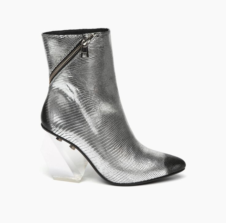Rocky Short Boot Hi Silver Embossed Lizard Brush Leather and lucite geometric heel