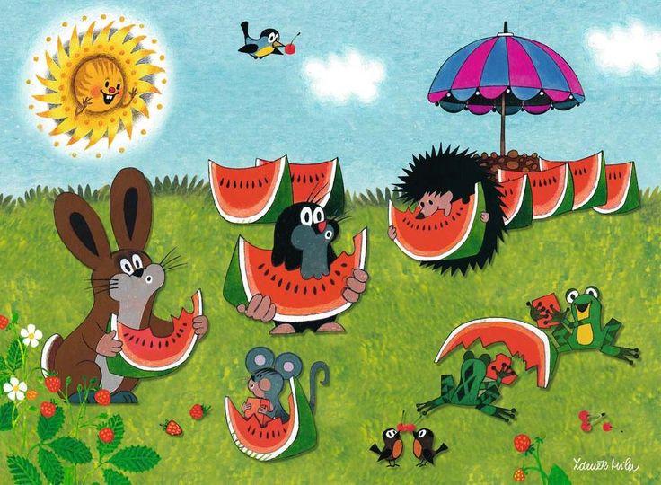 (2015-02) Muldvarpen, haren, musen, pindsvinet, frøerne og fuglene spiser vandmelon og spytter kernerne ud