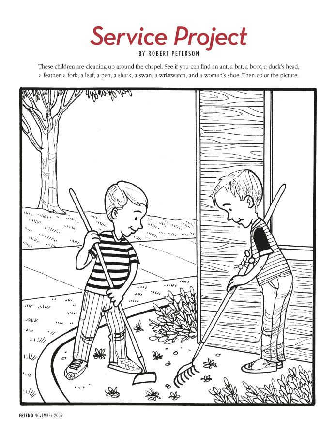 free lds clipart to color for primary children | service project a hidden pictures illustration than can be colored