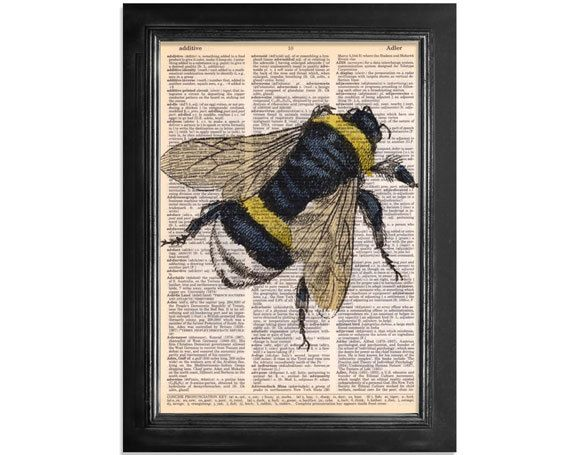 Bumble Bee recyclé Vintage dictionnaire papier - 8x10.5 Bee Art Print
