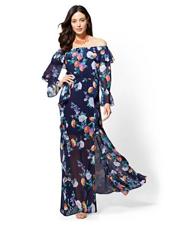 dc36b0e75e32 Shop Floral Off-The-Shoulder Maxi Dress. Find your perfect size online at  the best price at New York   Company.