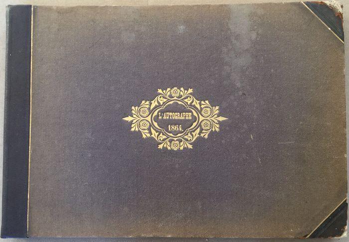H. De Villemessant & G. Bourdin - l'Autographe - 2 delen - Paris, Imprimerie la Vallée, 1864/1865 - 408 pp - oblong hardcovers - folio, 47 x 32 cm.   Conditie: Goed. Hoekjes van de band zijn versleten. Band heeft verkleuringen, vlekkerig. Interieur boek is fraai.   ¶ De twee banden bevatten de nr's 1 t/m 47 van het tijdschrift L'Autographe. Het tijdschrift stelde zich tot doel afbeeldingen te publiceren van 1000 à 1500 handtekeningen en handgeschreven brieven, bij v...