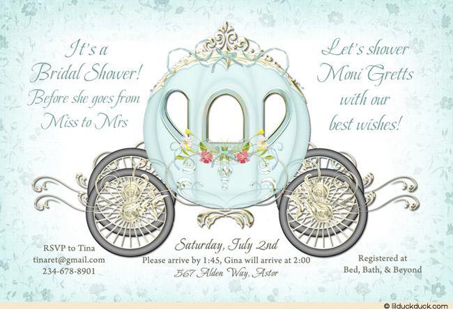 Cinderella Aqua Bridal Shower Invitation