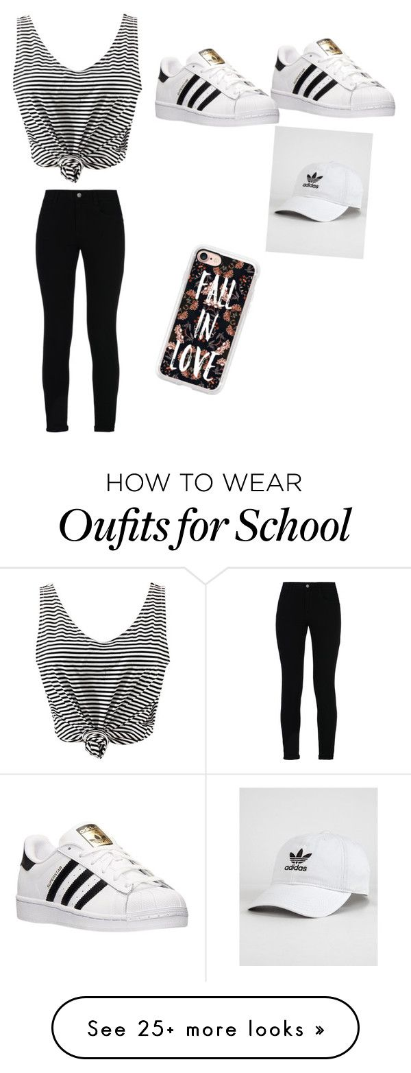 """Basic school day"" by piano1825 on Polyvore featuring STELLA McCARTNEY, adidas, WithChic and Casetify"