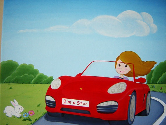 """Custom Acrylic Painting, Red Car with Personalized Girl and Message, 20""""x16""""."""