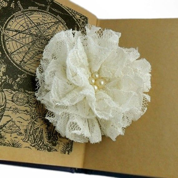 beautiful lace flower ... who wants to help make these for the wedding?