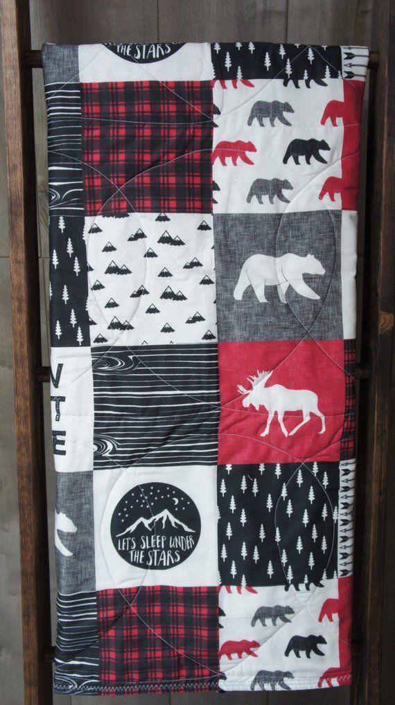 Baby Boy Quilt , Baby/Toddler Blanket , Woodland Bear