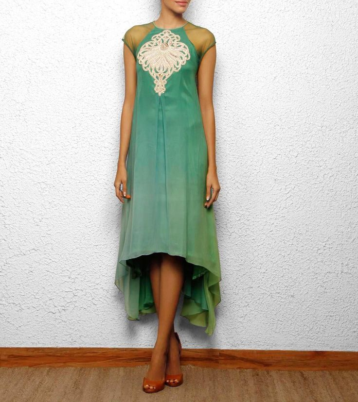 high low hem green kurta cum dress with silver hand embroidery Aneehka @ indianroots.com indo-western, fusion wear, destination wedding, tunic, india