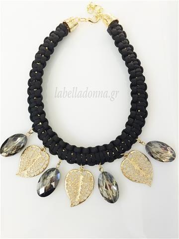 Labelladonna.gr - Kολιέ LeafStone Μαύρο