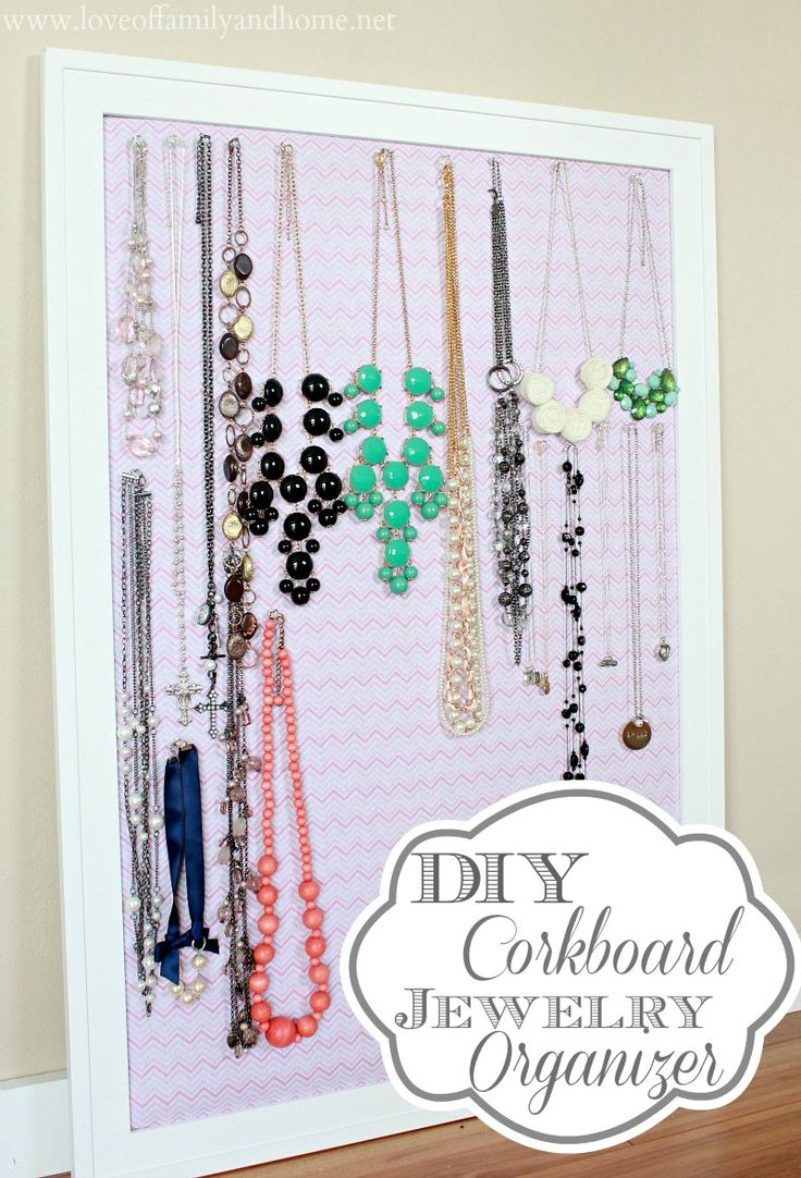 DIY Jewelry Organization, So I think I will buy a large already made cork board and cover it in pretty paper. That will be perfect