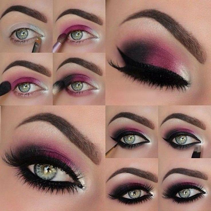 maquillaje ojos gris y rosa