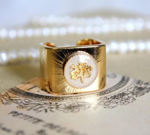 Anne   stunning elegant white and gold enamel ring  by iloniti, $34.00