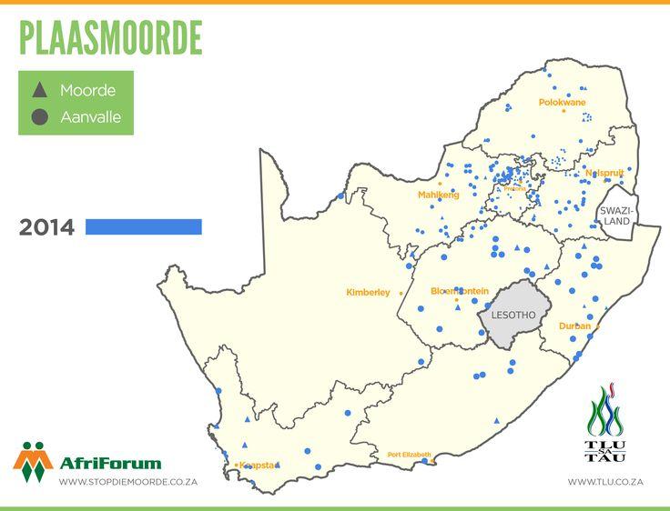 2014  Plaasaanvalle - en moorde op Suid-Afrikaanse kaart aangedui