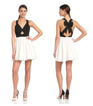Cute black and white spring dresses for women and juniors with back bow - trendy dresses 2014