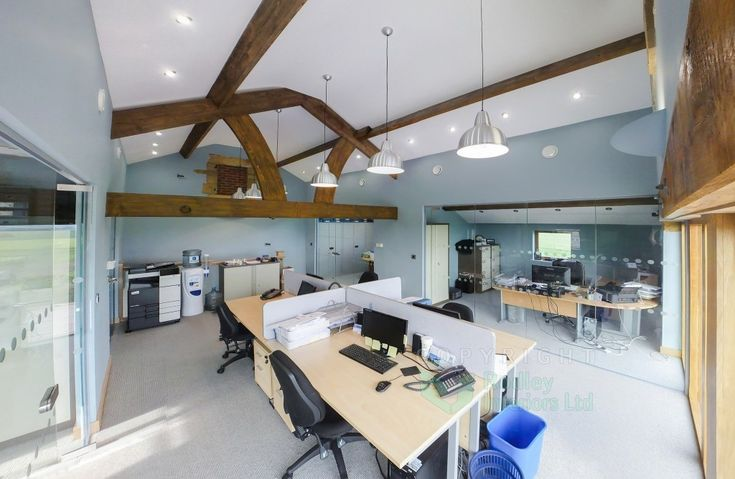 rural office with glass walls
