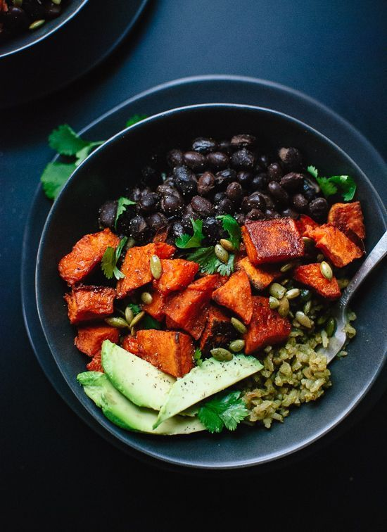 Roasted sweet potatoes with green rice and black beans. {always buy organic and grass-fed dairy for a much healthier version}