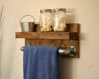 "Industrial Modern 12"" Wood Hand Towel Bar Bathroom Rustic Sink Shelf Light Walnut Cast Iron Pipe"