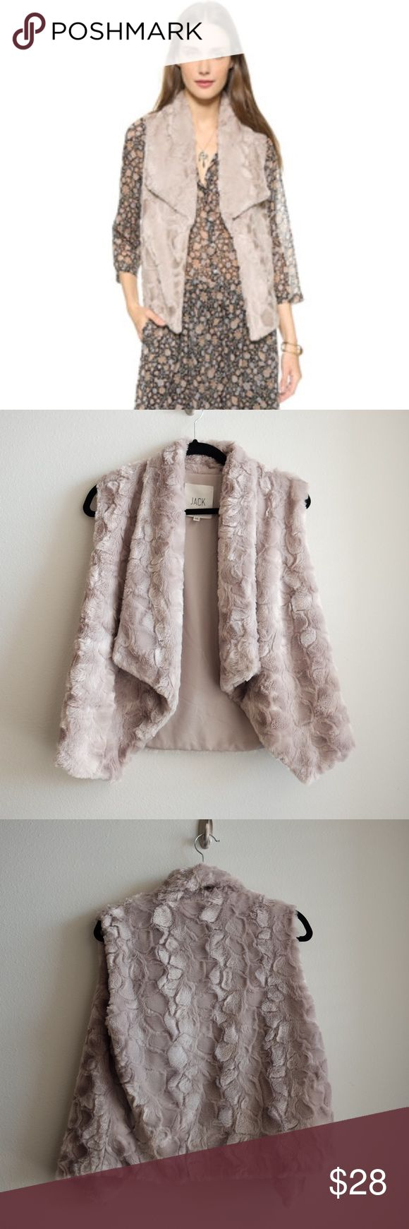 "Jack by BB Dakota Electra Faux Fur Vest Jack by BB Dakota Electra Faux Fur Vest Size M Length: 23"". Super soft and comfortable. Not real fur! 100% polyester. Comes from a pet free and smoke free home. Happy poshing! Jack by BB Dakota Jackets & Coats Vests"