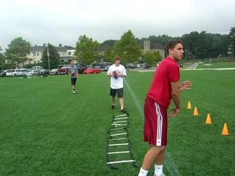 Football Quarterback Drills. Footwork With Speed Ladder By Quarterback C...