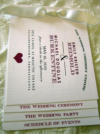 A perfect touch of mint on this custom booklet style ceremony program. Available at Persnickety Invitation Studio.