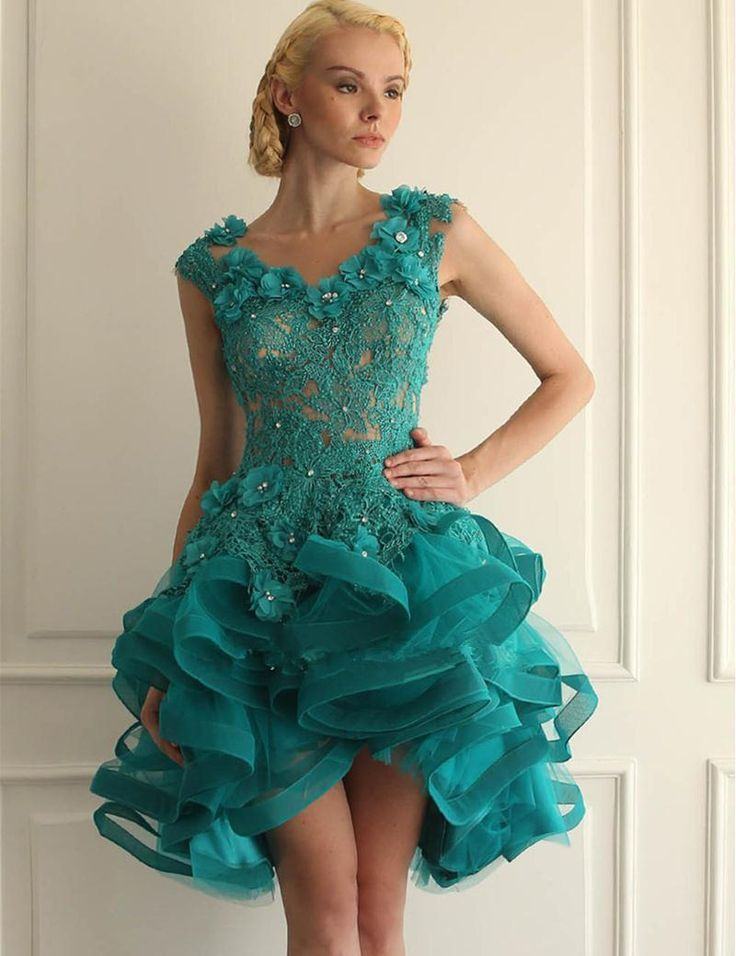 Organza Ball Gown Tulle Turquoise Homecoming Dresses Blue Open Back V Neck Body Nude Covered Ruffles Tiers 2017  Prom Dress