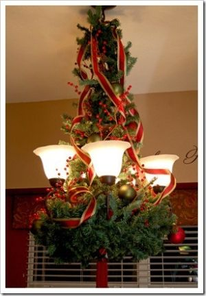 Deck the Lights!....love how the greenery goes all the way to the ceiling.