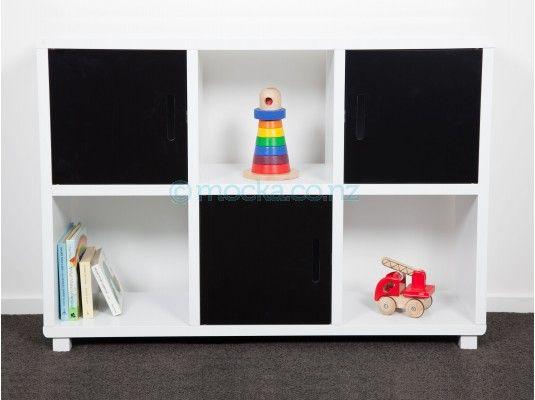 Mocka 6 Cube Storage Unit Black Doors