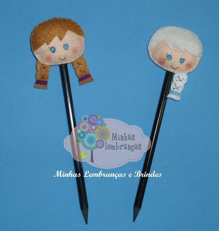 Ponteira de lápis - Frozen  Elsa e Anna  Contato: minhas.lembrancas@hotmail.com minhaslembrancasebrindes.blogspot.com.br