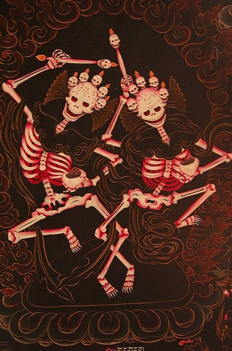 Tibetan citipapti thangka painting. According to Tibetan Buddhist lore, the citipati were two monks who were killed by a thief, because they were so deep in meditation.