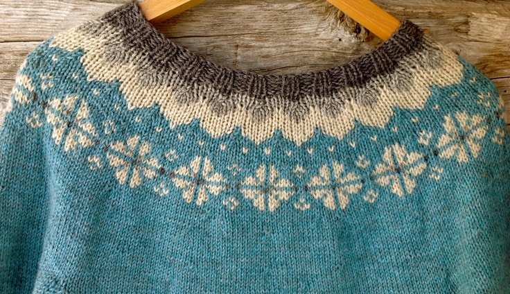 A wool cardigan with a classic pattern.